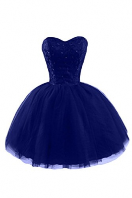 Gorgeous Bride Modern Herz-Ausschnitt Mini A-Linie Tuell Applikation Brautjungfernkleid Cocktailkleid Partykleid-34 Royalblau - 1